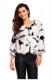 Jacheta din blanita alb-negru