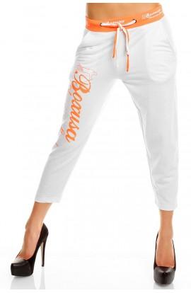 Pantaloni Sport Tip Capri cu Siret in Talie – Alb/Oranj