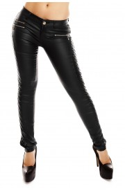 Pantaloni dama aspect matlasat cu piele ecologica