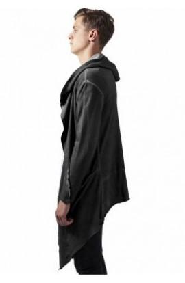 Cardigan asimetric lung cu gluga