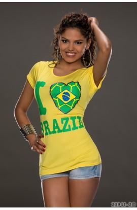 """Tricou Dama cu Slogan """"I Love Brazil"""""""