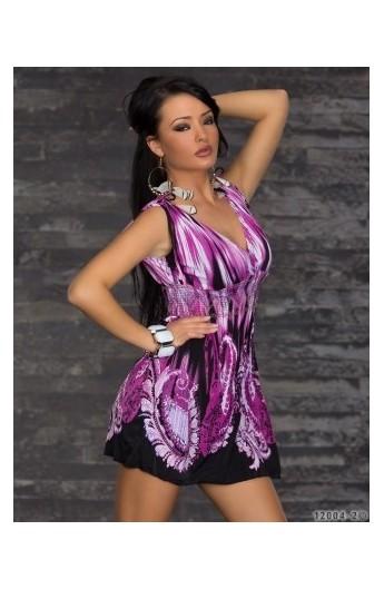 Rochita Boho Chic cu Imprimeu Violet