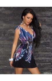 Rochita Boho Chic cu Imprimeu Albastrui