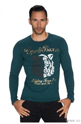 Bluza Barbati Casual Imprimata, cu Maneca Lunga – Albastru-Verzui