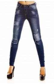Jeans Dama Patchwork cu talie inalta si aspect prespalat