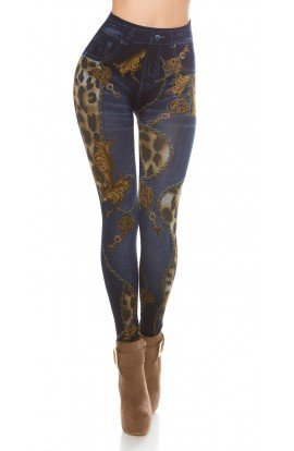 Leggings cu Aspect de Jeansi si Mix de Printuri
