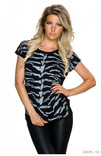 Top Casual cu Imprimeu Abstract