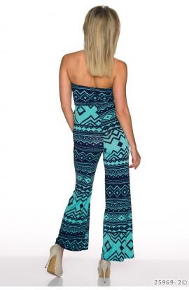 Salopeta Lunga cu Imprimeu si Pantaloni Evazati