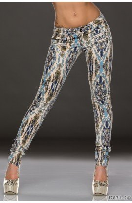 Pantaloni Skinny cu Imprimeu Abstract Multicolor