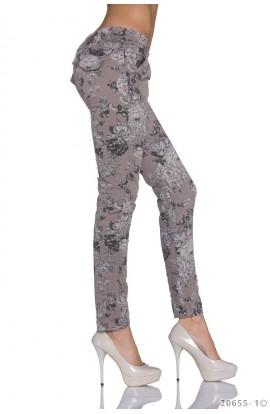 Pantaloni Skinny Drepti cu Imprimeu Floral