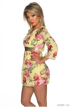 Rochie Mini Eleganta Model Floral Asimetric