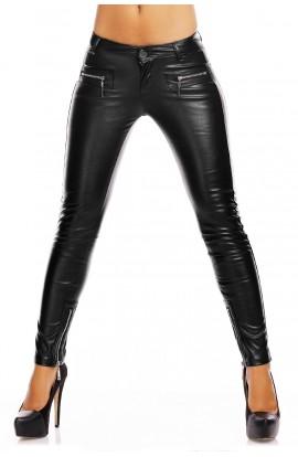 Pantaloni Dama Piele Ecologica cu Fermoare Metalice