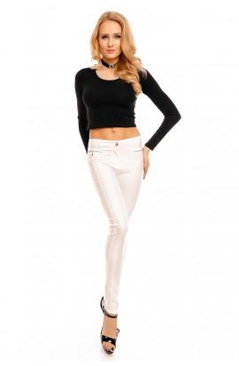 Pantaloni Dama Albi cu Aspect de Piele