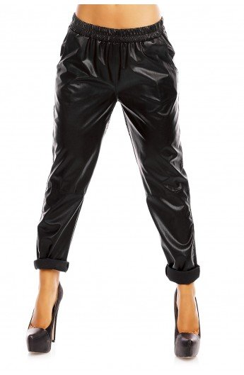 Pantaloni Dama cu Aspect de Piele si Croiala Jogger