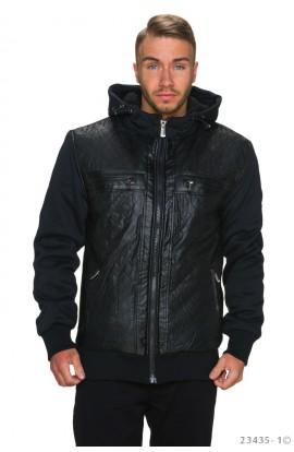Jacheta Neagra cu Gluga si Maneci din Material Textil