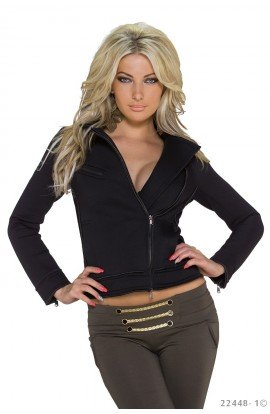 Jacheta Neagra Scurta cu Fermoar Asimetric pentru Dame