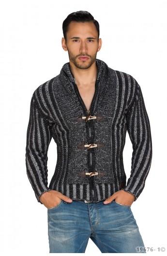 Pulover Tricotat cu Fermoar si Nasturi pentru Barbati