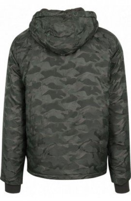 Padded Camo Pull Over Jacket oliv inchis L
