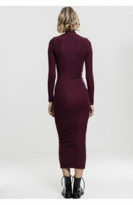 Ladies Long Turtleneck Dress cherry S