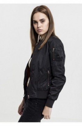 Ladies Nylon Twill Bomber Jacket negru-negru S