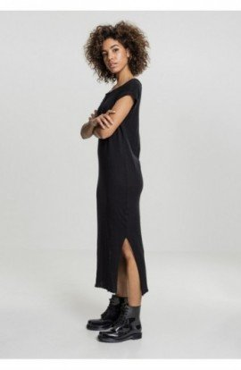 Ladies Slub Long Dress negru S