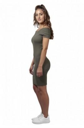 Ladies Off Shoulder Rib Dress oliv S