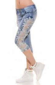 Blugi Trei Sferturi din Jeans cu Dantela alba pe Laterale