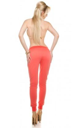 Pantaloni Sport cu Elastic in Talie si Pietre Decorative pe Buzunare