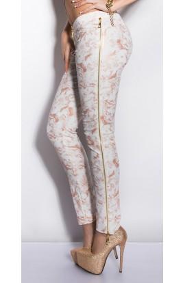 Pantaloni cu Imprimeu Auriu si Fermoare Decorative pe Laterale
