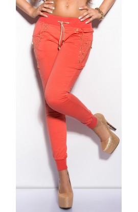Pantaloni Sport cu Pietricele Decorative si Snur in Talie