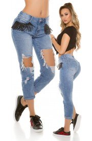 Boyfriend Jeans cu Taieturi Ample si Franjuri