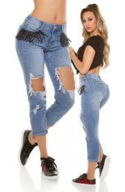 Boyfriend Jeans cu Taieturi Ample si Franjuri,L-XL