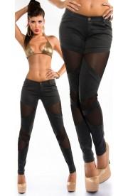 Pantaloni Mulati cu Insertii Transparente pe Fata