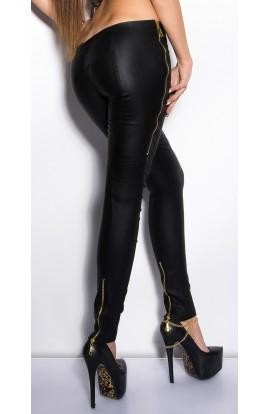 Pantaloni Mulati din Piele Ecologica cu Fermoare Metalice