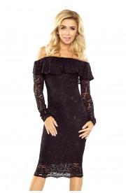 Rochie din Dantela neagra cu Maneci Lungi - Model Spaniol