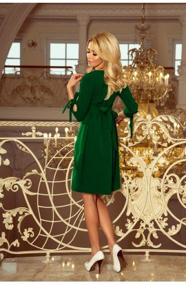 Rochie trapezoidala , verde cu maneci trei sferturi