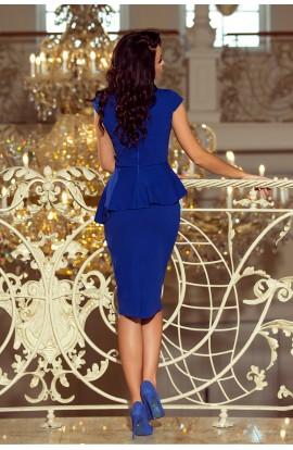 Rochie albastra , midi peplum mulata cu maneci scurte