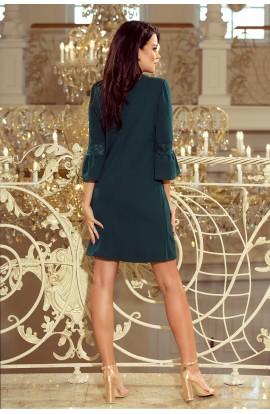 Rochie Verde Mini in Forma de A cu Maneci Evazate