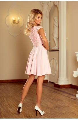 Rochie babydoll cu insertii de dantela , roz pastel