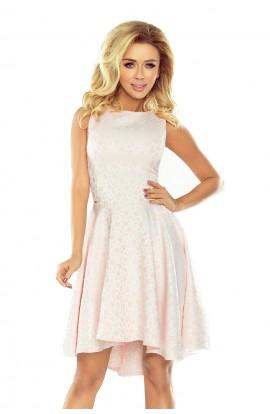 Rochie roz pastel, asimetrica eleganta fara maneci