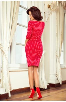 Rochie rosie cu puncte albe, midi casual